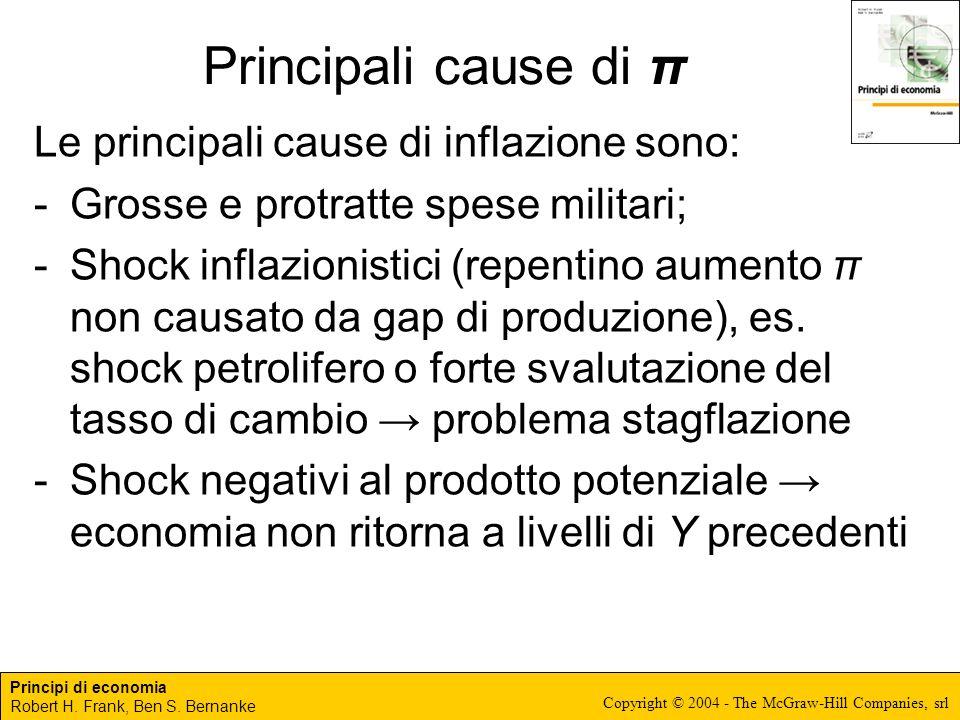 Principi di economia Robert H. Frank, Ben S. Bernanke Copyright © 2004 - The McGraw-Hill Companies, srl Principali cause di π Le principali cause di i