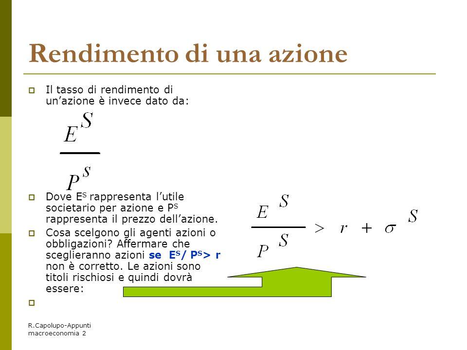 R.Capolupo-Appunti macroeconomia 2 Rendimento di una azione Il tasso di rendimento di unazione è invece dato da: Dove E S rappresenta lutile societari