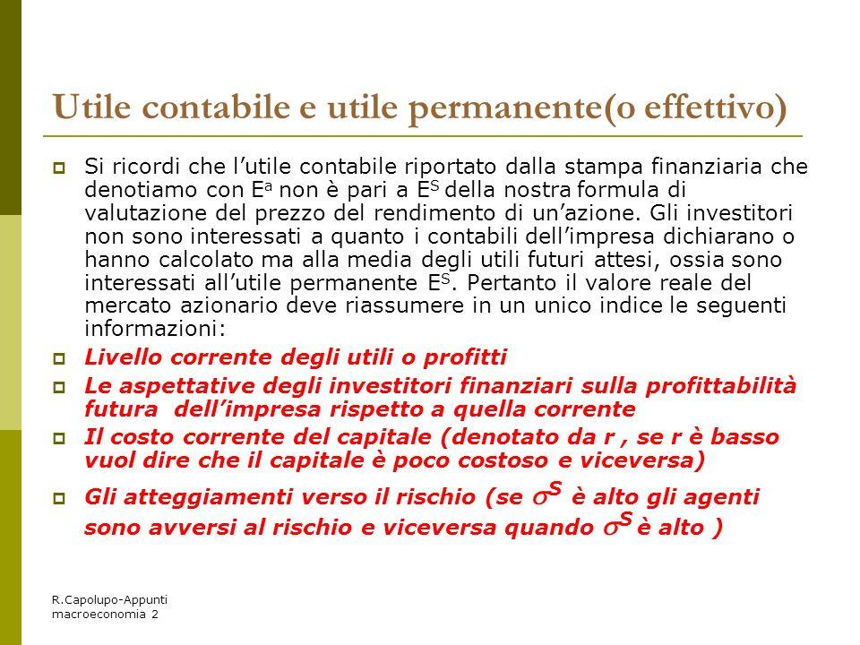 R.Capolupo-Appunti macroeconomia 2 Utile contabile e utile permanente(o effettivo) Si ricordi che lutile contabile riportato dalla stampa finanziaria