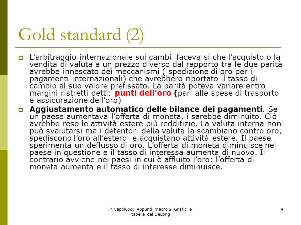 R.Capolupo: Appunti macro 2_Grafici e tabelle dal DeLong 4 Gold standard (2) Larbitraggio internazionale sui cambi faceva sì che lacquisto o la vendit