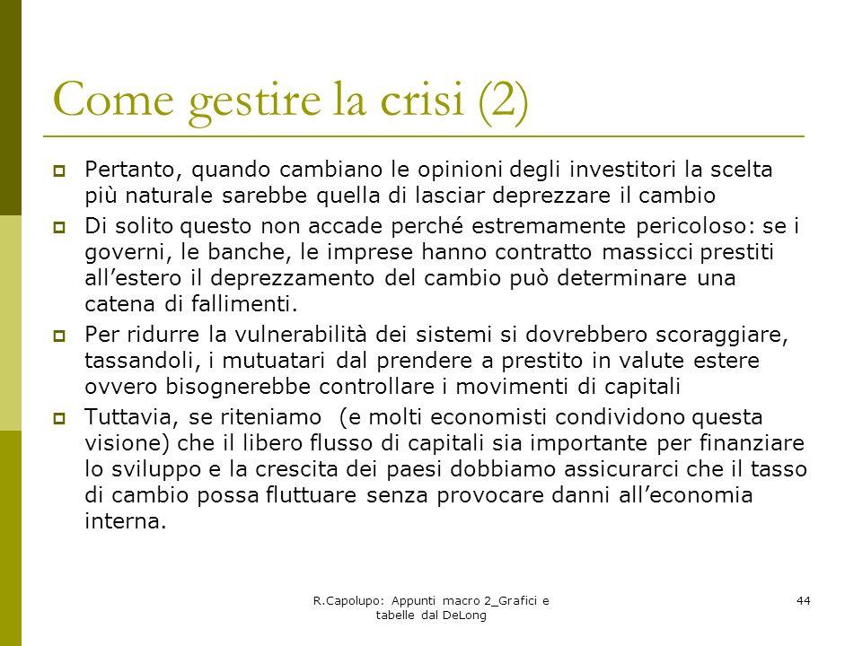 R.Capolupo: Appunti macro 2_Grafici e tabelle dal DeLong 44 Come gestire la crisi (2) Pertanto, quando cambiano le opinioni degli investitori la scelt