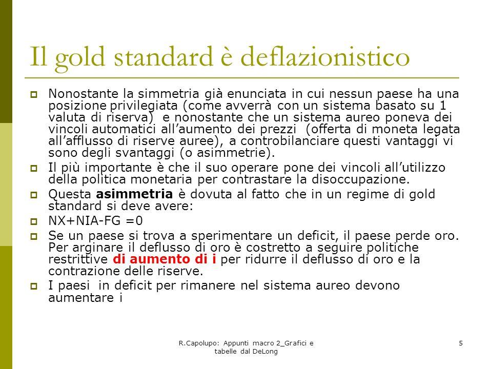 R.Capolupo: Appunti macro 2_Grafici e tabelle dal DeLong 5 Il gold standard è deflazionistico Nonostante la simmetria già enunciata in cui nessun paes