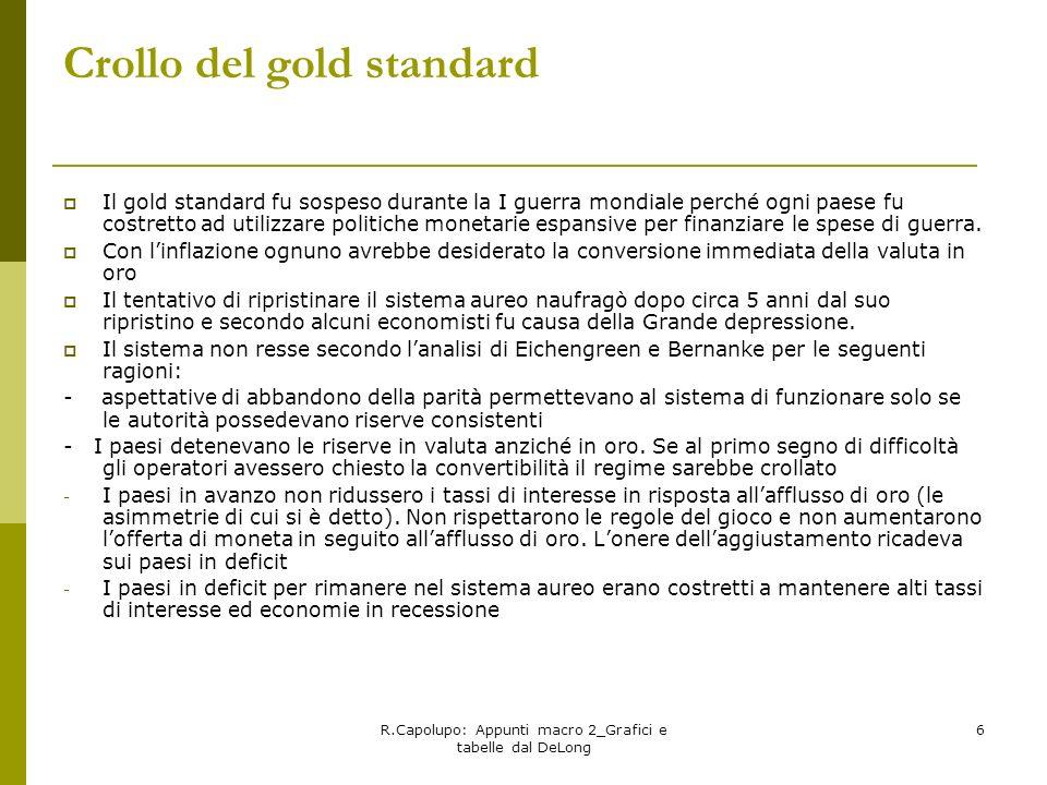R.Capolupo: Appunti macro 2_Grafici e tabelle dal DeLong 6 Crollo del gold standard Il gold standard fu sospeso durante la I guerra mondiale perché og