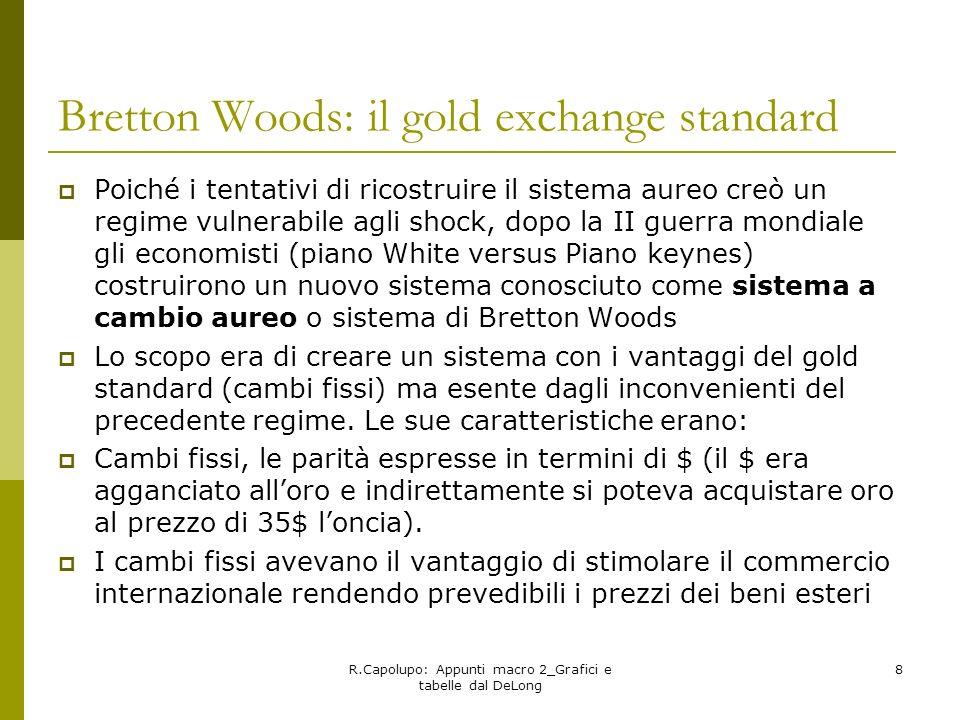 R.Capolupo: Appunti macro 2_Grafici e tabelle dal DeLong 8 Bretton Woods: il gold exchange standard Poiché i tentativi di ricostruire il sistema aureo
