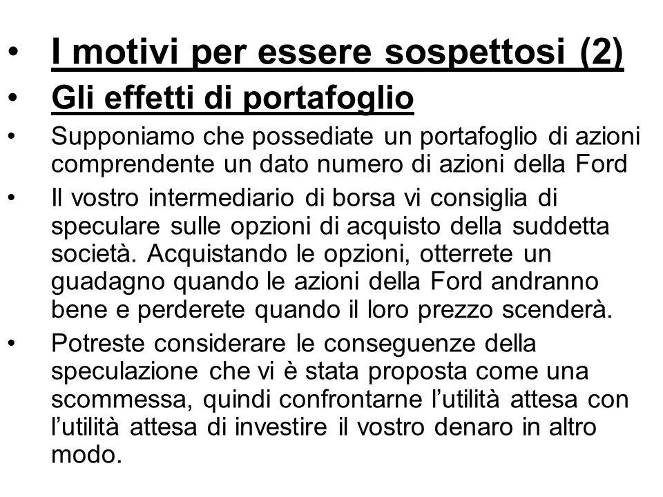 I motivi per essere sospettosi (2) Gli effetti di portafoglio Supponiamo che possediate un portafoglio di azioni comprendente un dato numero di azioni