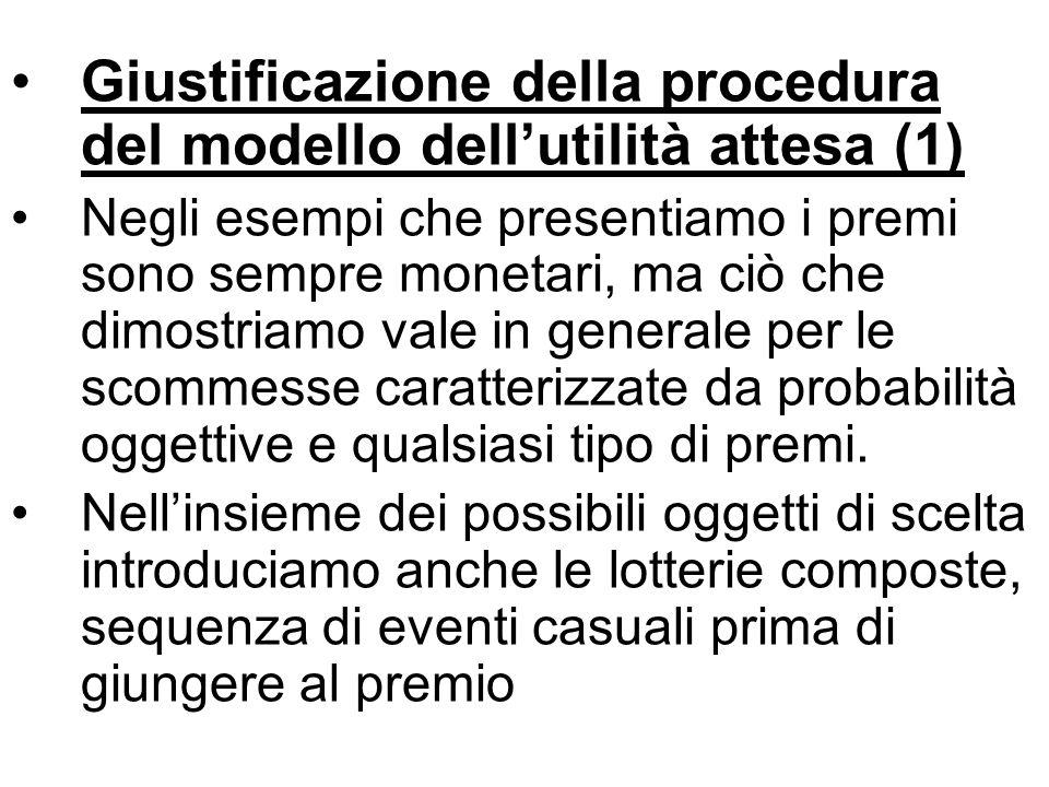 Giustificazione della procedura del modello dellutilità attesa (1) Negli esempi che presentiamo i premi sono sempre monetari, ma ciò che dimostriamo vale in generale per le scommesse caratterizzate da probabilità oggettive e qualsiasi tipo di premi.