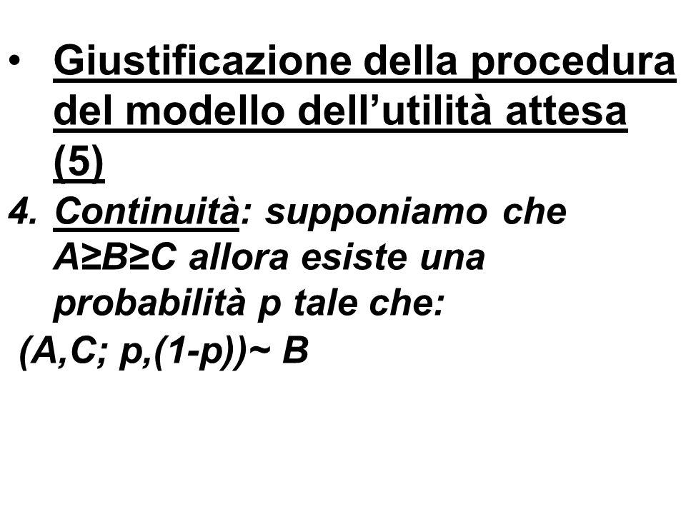 Giustificazione della procedura del modello dellutilità attesa (5) 4.Continuità: supponiamo che ABC allora esiste una probabilità p tale che: (A,C; p,(1-p))~ B