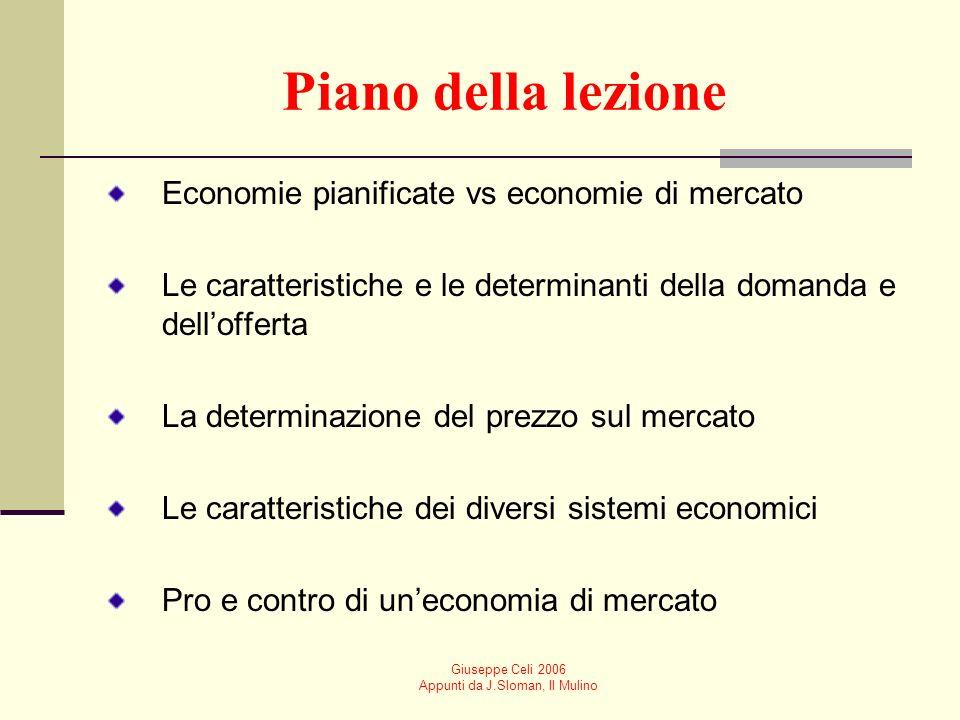 Giuseppe Celi 2006 Appunti da J.Sloman, Il Mulino Prezzo (cent di euro al kg) Domanda totale di mercato (tonX1000) Offerta totale di mercato (tonX1000) 25700 (A)100 (a) 50500 (B)200 (b) 75350 (C)350 (c) 100200 (D)530 (d) 150100 (E)700 (e) Domanda e offerta a confronto: un esempio