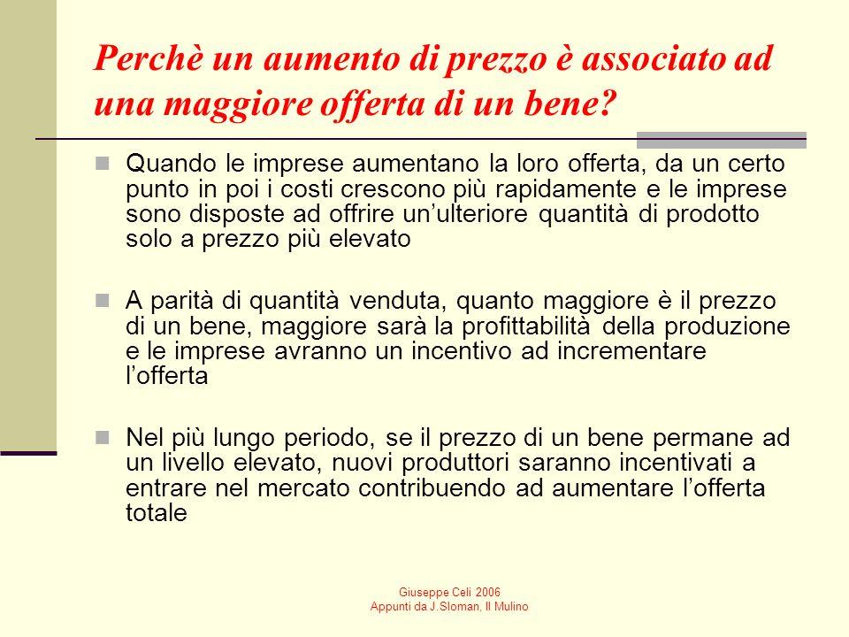 Giuseppe Celi 2006 Appunti da J.Sloman, Il Mulino Quale sarà la quantità di un bene prodotta dalle imprese? LEGGE DELLOFFERTA Se il prezzo aumenta, la