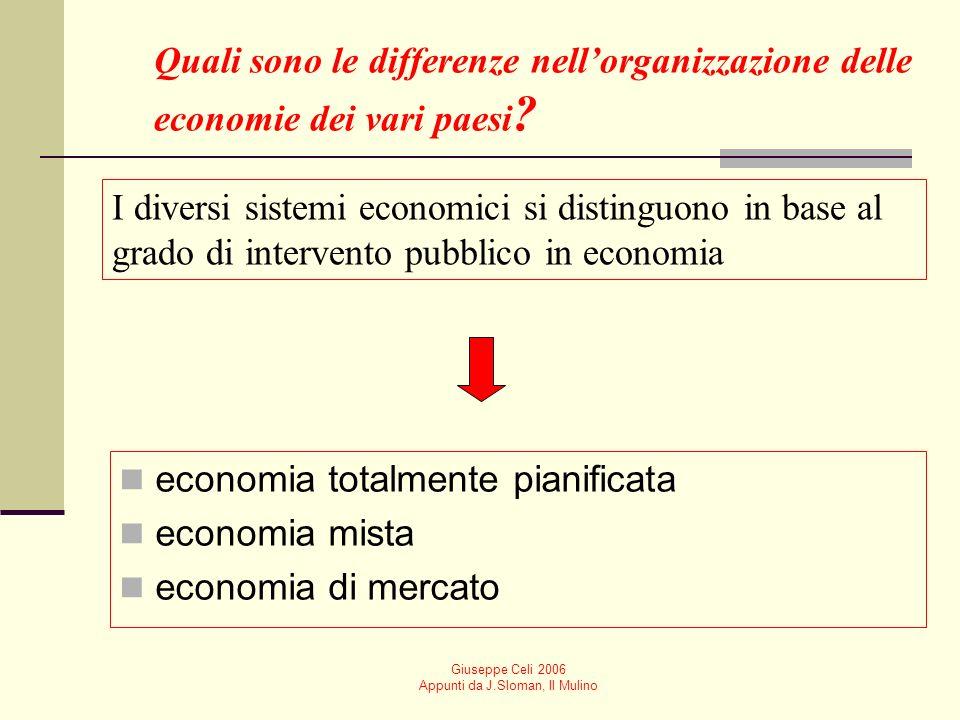 Giuseppe Celi 2006 Appunti da J.Sloman, Il Mulino Quali sono le differenze nellorganizzazione delle economie dei vari paesi .