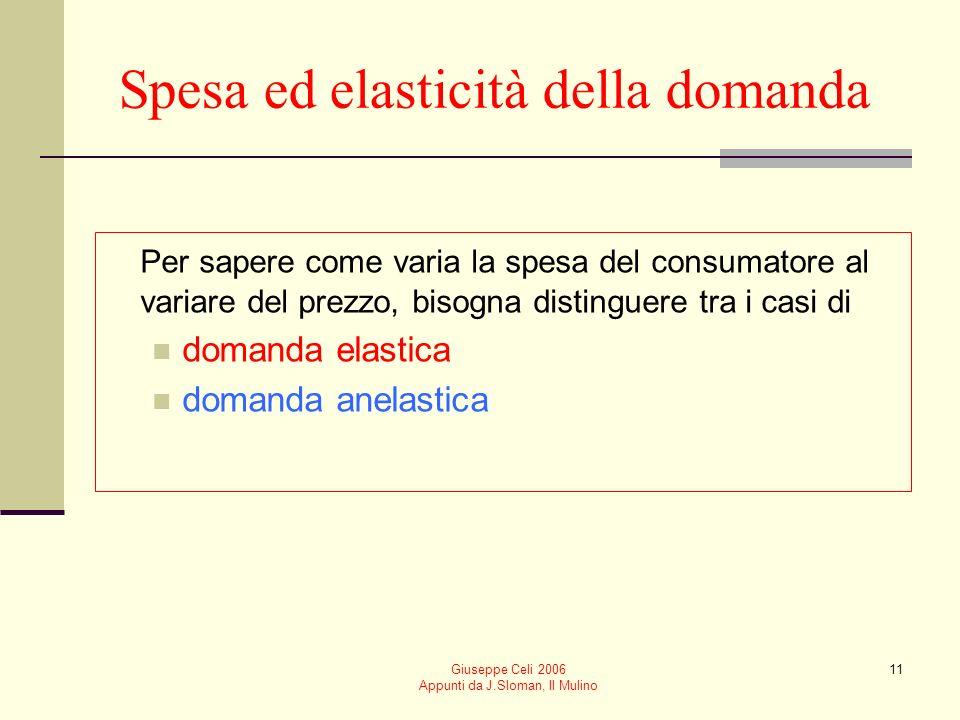 Giuseppe Celi 2006 Appunti da J.Sloman, Il Mulino 11 Spesa ed elasticità della domanda Per sapere come varia la spesa del consumatore al variare del p