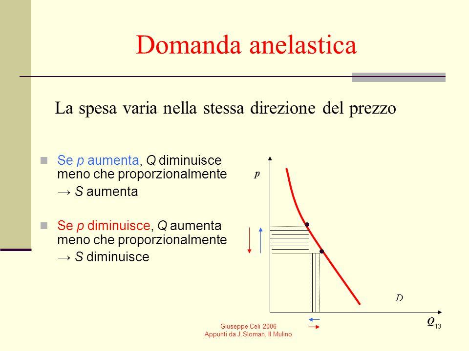 Giuseppe Celi 2006 Appunti da J.Sloman, Il Mulino 13 Domanda anelastica Se p aumenta, Q diminuisce meno che proporzionalmente S aumenta Se p diminuisc