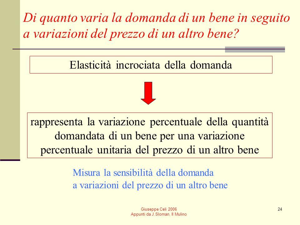 Giuseppe Celi 2006 Appunti da J.Sloman, Il Mulino 24 Di quanto varia la domanda di un bene in seguito a variazioni del prezzo di un altro bene? Elasti