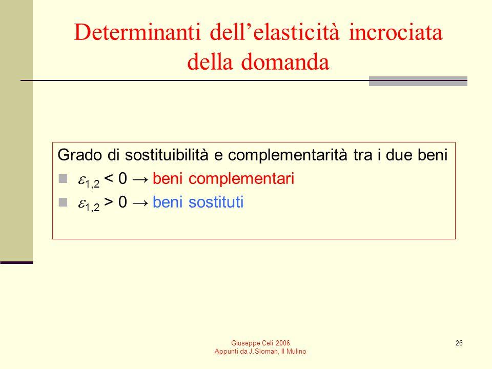 Giuseppe Celi 2006 Appunti da J.Sloman, Il Mulino 26 Determinanti dellelasticità incrociata della domanda Grado di sostituibilità e complementarità tr