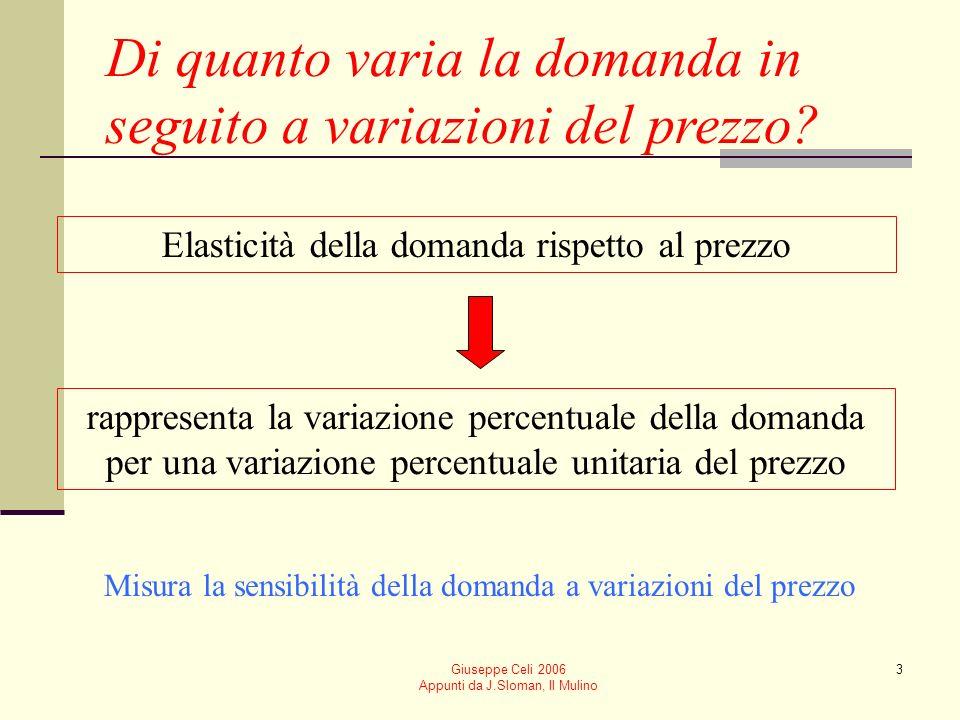 Giuseppe Celi 2006 Appunti da J.Sloman, Il Mulino 3 Di quanto varia la domanda in seguito a variazioni del prezzo? Elasticità della domanda rispetto a