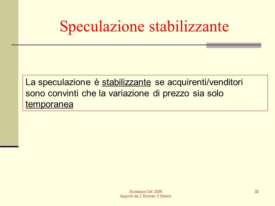 Giuseppe Celi 2006 Appunti da J.Sloman, Il Mulino 32 Speculazione stabilizzante La speculazione è stabilizzante se acquirenti/venditori sono convinti