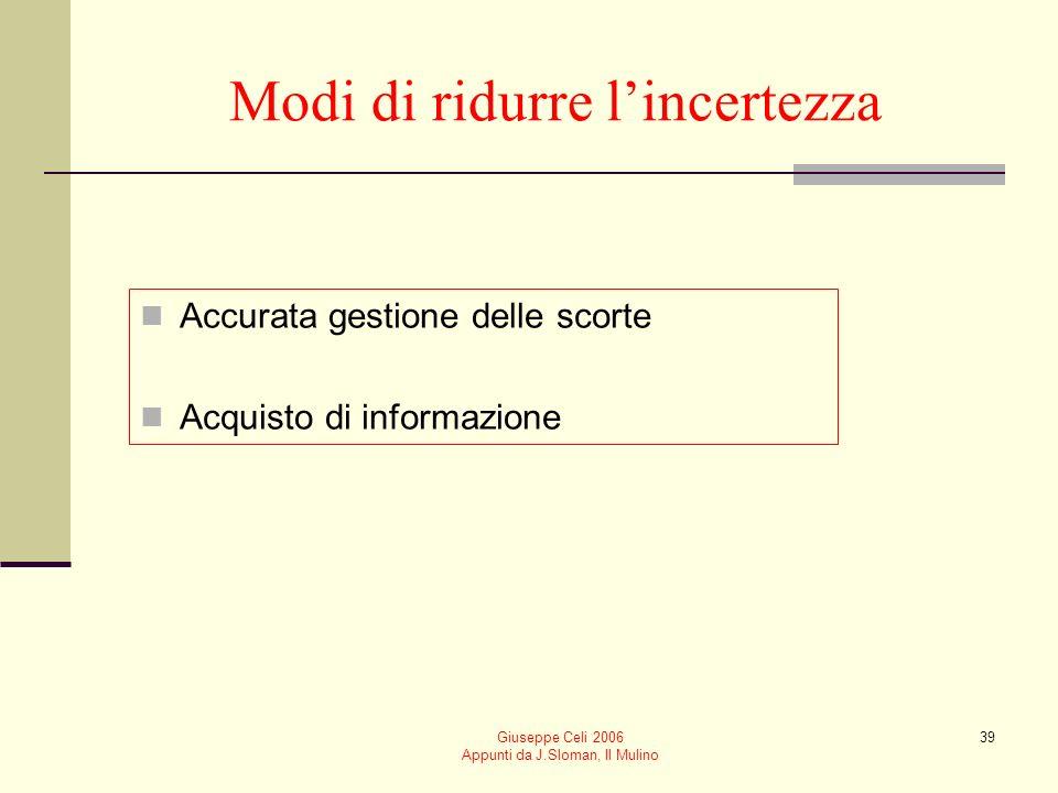 Giuseppe Celi 2006 Appunti da J.Sloman, Il Mulino 39 Modi di ridurre lincertezza Accurata gestione delle scorte Acquisto di informazione