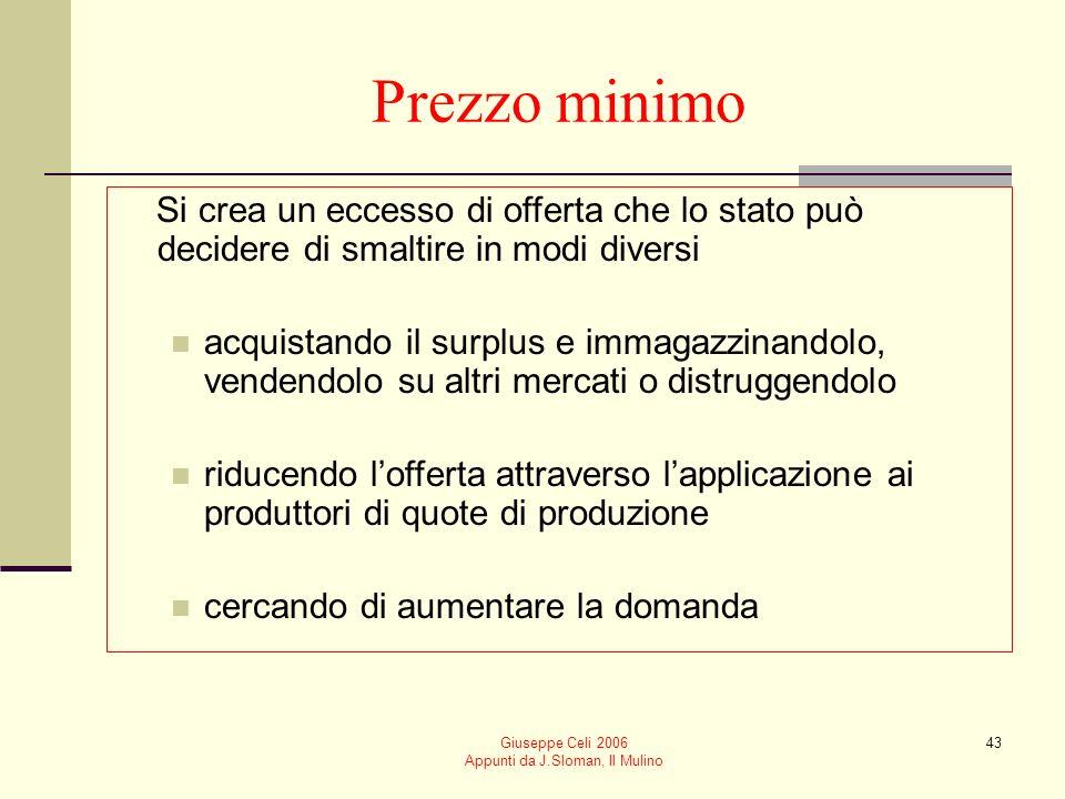 Giuseppe Celi 2006 Appunti da J.Sloman, Il Mulino 43 Prezzo minimo Si crea un eccesso di offerta che lo stato può decidere di smaltire in modi diversi
