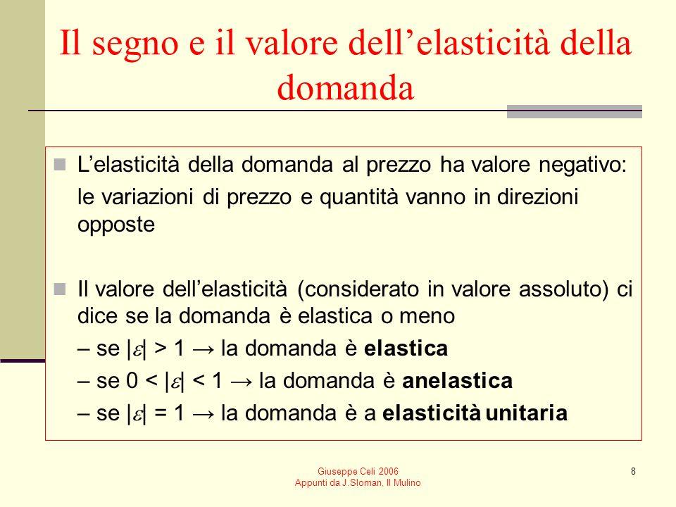Giuseppe Celi 2006 Appunti da J.Sloman, Il Mulino 8 Il segno e il valore dellelasticità della domanda Lelasticità della domanda al prezzo ha valore ne