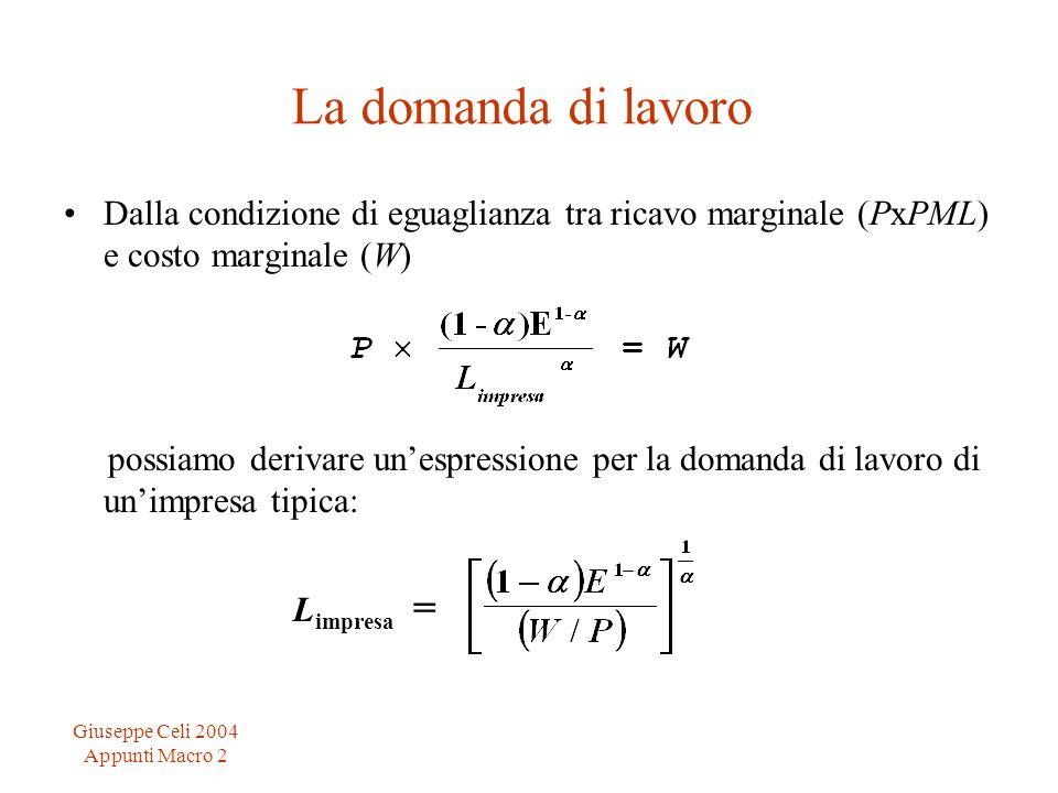Giuseppe Celi 2004 Appunti Macro 2 La domanda di lavoro Dalla condizione di eguaglianza tra ricavo marginale (PxPML) e costo marginale (W) possiamo de