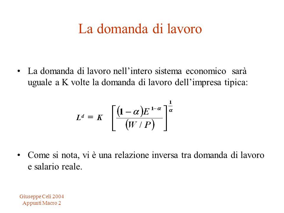 Giuseppe Celi 2004 Appunti Macro 2 La domanda di lavoro La domanda di lavoro nellintero sistema economico sarà uguale a K volte la domanda di lavoro d