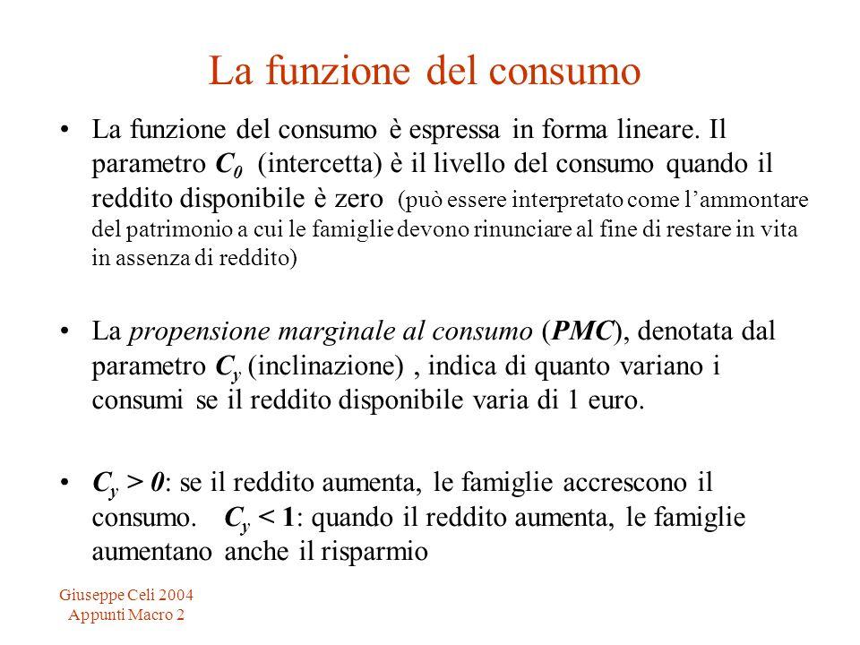 Giuseppe Celi 2004 Appunti Macro 2 La funzione del consumo La funzione del consumo è espressa in forma lineare. Il parametro C 0 (intercetta) è il liv
