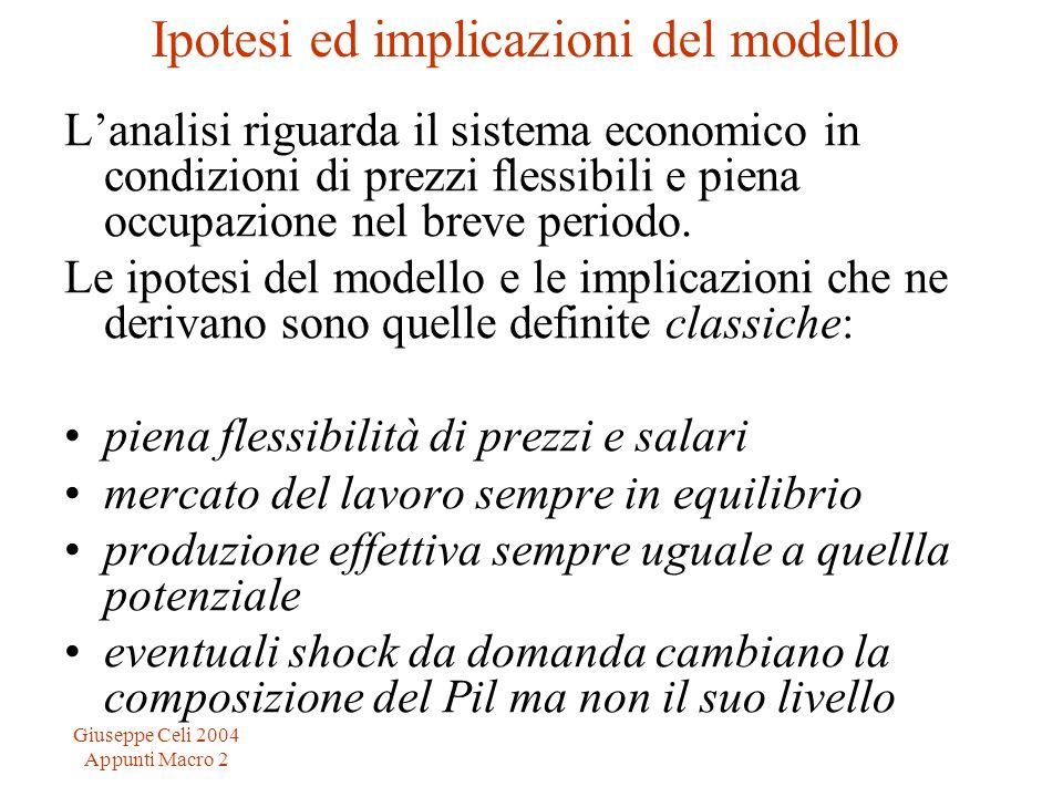 Giuseppe Celi 2004 Appunti Macro 2 La spesa totale Come sappiamo, in uneconomia aperta, la spesa totale è divisa in quattro componenti: consumi (C) investimenti (I), spesa pubblica (G) ed esportazioni nette (NX) La somma di queste quattro componenti costituisce il il reddito nazionale che, secondo il principio del flusso circolare, è uguale alla domanda aggregata (E) e al PIL reale (Y) : C + I + G + NX = E = Y Ricordiamo quali sono le determinanti di ogni singola componente della spesa totale