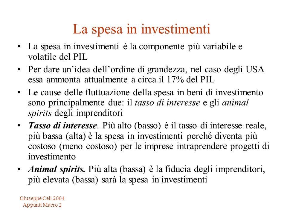 Giuseppe Celi 2004 Appunti Macro 2 La spesa in investimenti La spesa in investimenti è la componente più variabile e volatile del PIL Per dare unidea