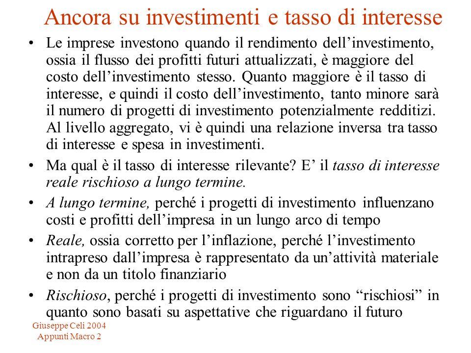 Giuseppe Celi 2004 Appunti Macro 2 Ancora su investimenti e tasso di interesse Le imprese investono quando il rendimento dellinvestimento, ossia il fl