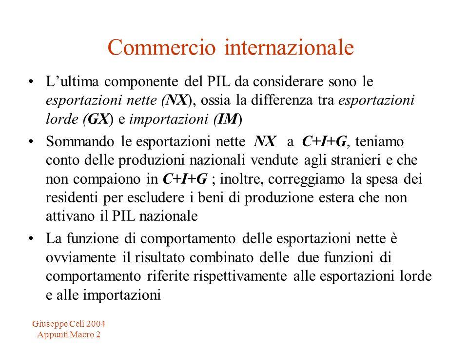 Giuseppe Celi 2004 Appunti Macro 2 Commercio internazionale Lultima componente del PIL da considerare sono le esportazioni nette (NX), ossia la differ