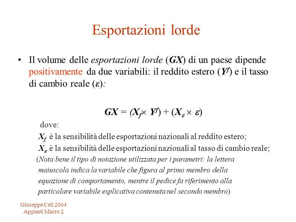 Giuseppe Celi 2004 Appunti Macro 2 Esportazioni lorde Il volume delle esportazioni lorde (GX) di un paese dipende positivamente da due variabili: il reddito estero (Y f ) e il tasso di cambio reale (ε): GX = (X f Y f ) + (X ) dove: X f è la sensibilità delle esportazioni nazionali al reddito estero; X è la sensibilità delle esportazioni nazionali al tasso di cambio reale; (Nota bene il tipo di notazione utilizzata per i parametri: la lettera maiuscola indica la variabile che figura al primo membro della equazione di comportamento, mentre il pedice fa riferimento alla particolare variabile esplicativa contenuta nel secondo membro)
