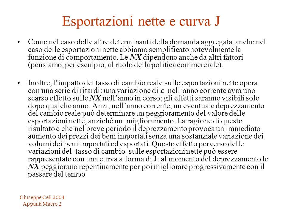 Giuseppe Celi 2004 Appunti Macro 2 Esportazioni nette e curva J Come nel caso delle altre determinanti della domanda aggregata, anche nel caso delle e