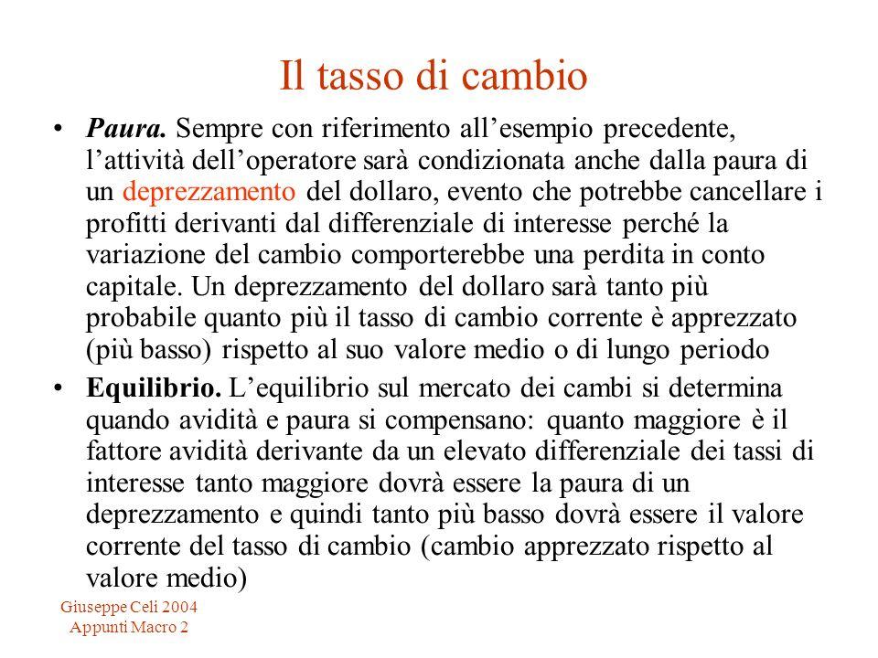 Giuseppe Celi 2004 Appunti Macro 2 Il tasso di cambio Paura. Sempre con riferimento allesempio precedente, lattività delloperatore sarà condizionata a