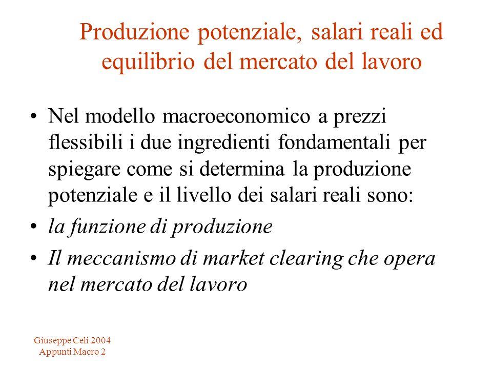 Giuseppe Celi 2004 Appunti Macro 2 Produzione potenziale, salari reali ed equilibrio del mercato del lavoro Nel modello macroeconomico a prezzi flessibili i due ingredienti fondamentali per spiegare come si determina la produzione potenziale e il livello dei salari reali sono: la funzione di produzione Il meccanismo di market clearing che opera nel mercato del lavoro