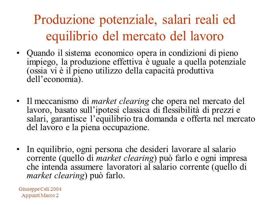 Giuseppe Celi 2004 Appunti Macro 2 Produzione potenziale, salari reali ed equilibrio del mercato del lavoro Quando il sistema economico opera in condi