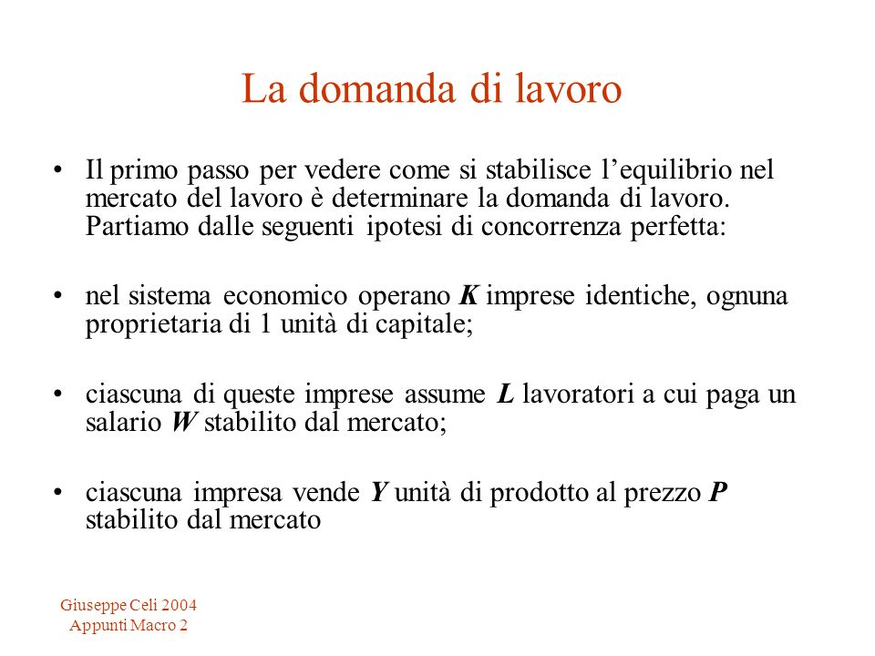 Giuseppe Celi 2004 Appunti Macro 2 La domanda di lavoro Il primo passo per vedere come si stabilisce lequilibrio nel mercato del lavoro è determinare