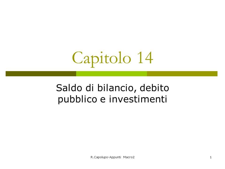 R.Capolupo-Appunti Macro21 Capitolo 14 Saldo di bilancio, debito pubblico e investimenti