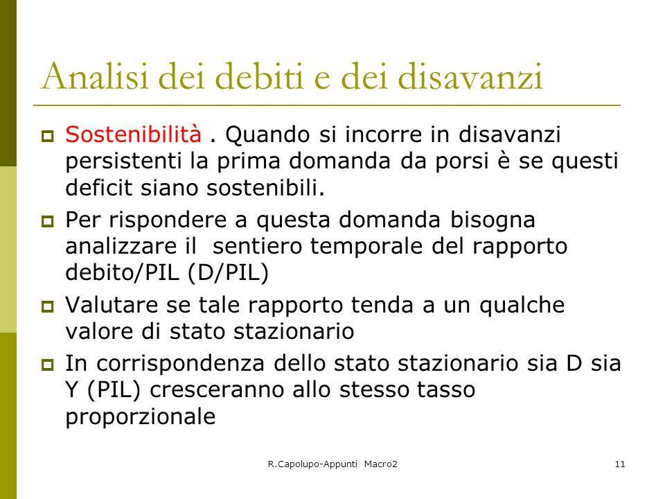 R.Capolupo-Appunti Macro211 Analisi dei debiti e dei disavanzi Sostenibilità. Quando si incorre in disavanzi persistenti la prima domanda da porsi è s