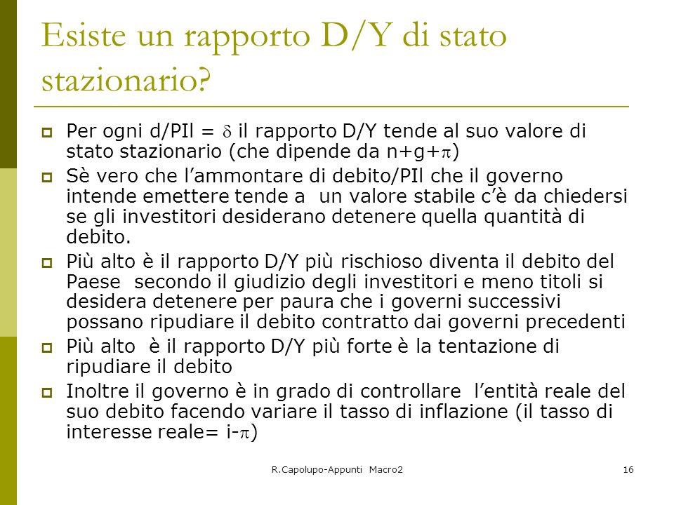 R.Capolupo-Appunti Macro216 Esiste un rapporto D/Y di stato stazionario? Per ogni d/PIl = il rapporto D/Y tende al suo valore di stato stazionario (ch