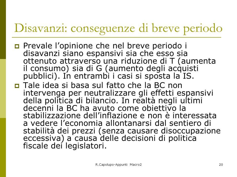 R.Capolupo-Appunti Macro220 Disavanzi: conseguenze di breve periodo Prevale lopinione che nel breve periodo i disavanzi siano espansivi sia che esso s