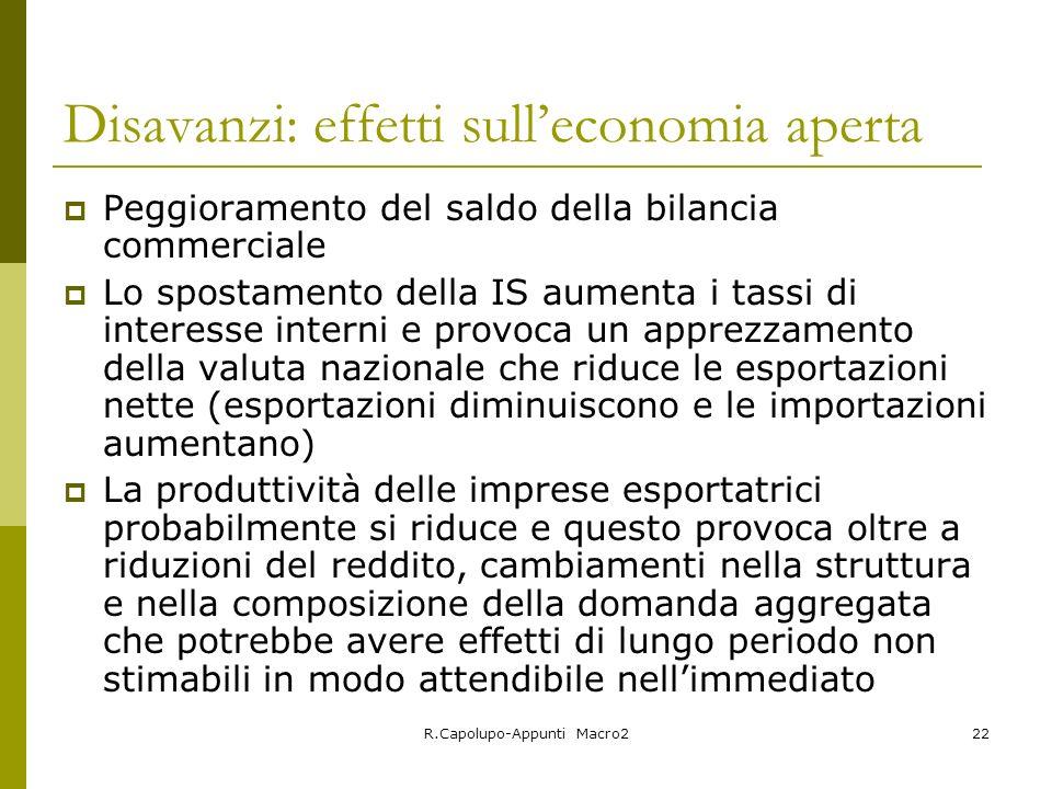 R.Capolupo-Appunti Macro222 Disavanzi: effetti sulleconomia aperta Peggioramento del saldo della bilancia commerciale Lo spostamento della IS aumenta