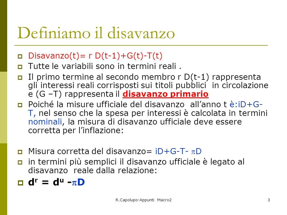R.Capolupo-Appunti Macro23 Definiamo il disavanzo Disavanzo(t)= r D(t-1)+G(t)-T(t) Tutte le variabili sono in termini reali. Il primo termine al secon