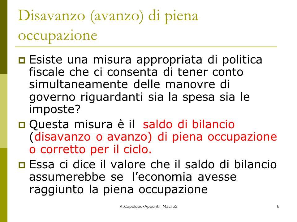 R.Capolupo-Appunti Macro26 Disavanzo (avanzo) di piena occupazione Esiste una misura appropriata di politica fiscale che ci consenta di tener conto si