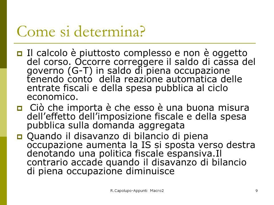 R.Capolupo-Appunti Macro29 Come si determina? Il calcolo è piuttosto complesso e non è oggetto del corso. Occorre correggere il saldo di cassa del gov
