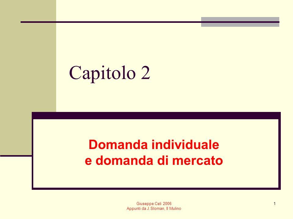 Giuseppe Celi 2006 Appunti da J.Sloman, Il Mulino 52 Compensazione hicksiana Confronto a utilità costante Consideriamo il punto di tangenza tra un vincolo di bilancio parallelo a quello successivo alla variazione di prezzo e la curva di indifferenza su cui si trovava il vecchio equilibrio del consumatore x1x1 x2x2 E2E2 E E1E1 EFFETTO DI REDDITO EFFETTO DI SOSTITUZIONE