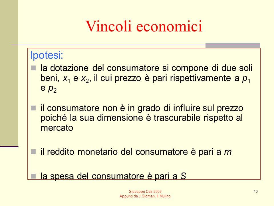 Giuseppe Celi 2006 Appunti da J.Sloman, Il Mulino 10 Vincoli economici Ipotesi: la dotazione del consumatore si compone di due soli beni, x 1 e x 2, i