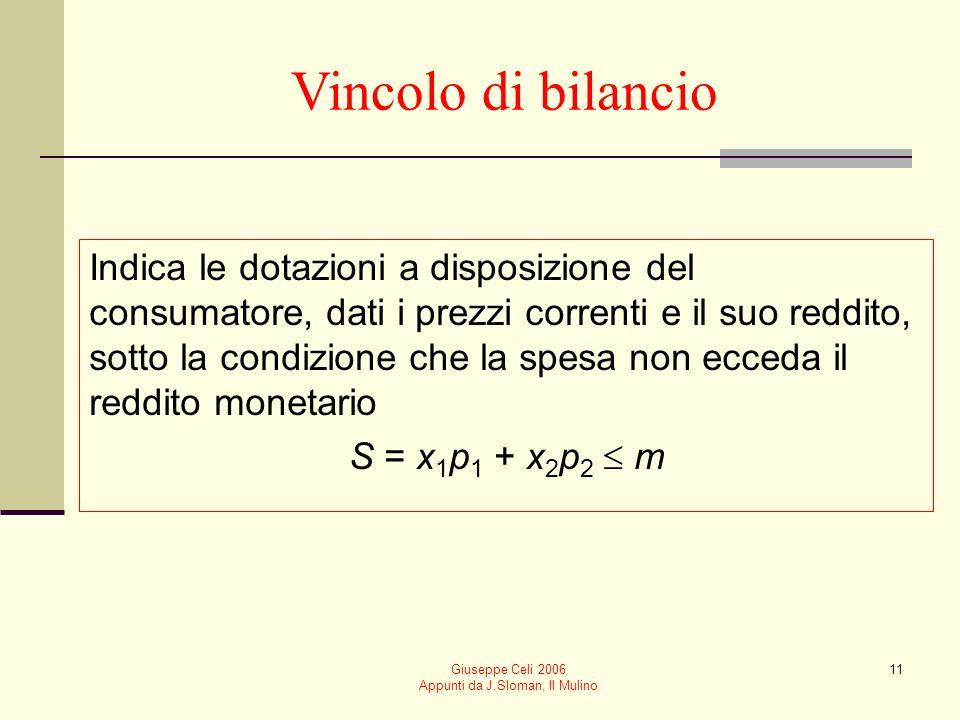 Giuseppe Celi 2006 Appunti da J.Sloman, Il Mulino 11 Vincolo di bilancio Indica le dotazioni a disposizione del consumatore, dati i prezzi correnti e