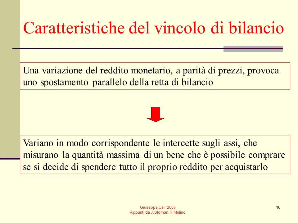 Giuseppe Celi 2006 Appunti da J.Sloman, Il Mulino 16 Caratteristiche del vincolo di bilancio Una variazione del reddito monetario, a parità di prezzi,