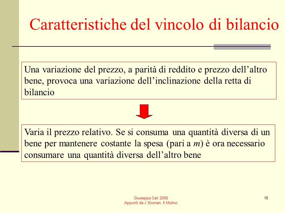 Giuseppe Celi 2006 Appunti da J.Sloman, Il Mulino 18 Caratteristiche del vincolo di bilancio Una variazione del prezzo, a parità di reddito e prezzo d
