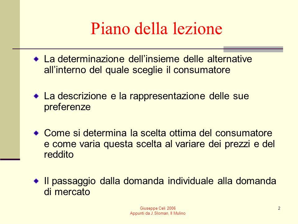 Giuseppe Celi 2006 Appunti da J.Sloman, Il Mulino 3 Comè descritto in microeconomia il problema di scelta del consumatore.
